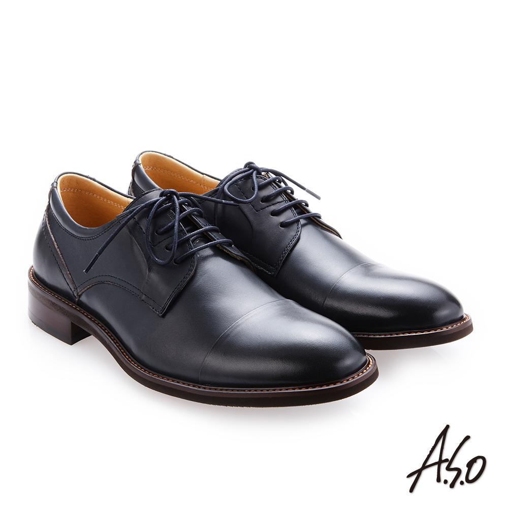 A.S.O 職人通勤 綁帶蠟感小牛皮紳士鞋 深藍