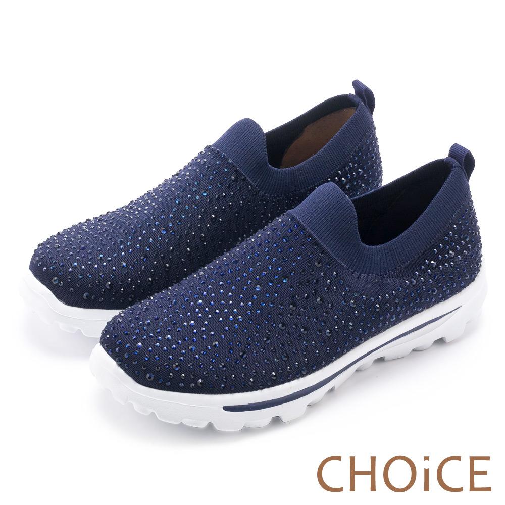CHOiCE 舒適渡假休閒 燙鑽針織布面休閒包鞋-藍色