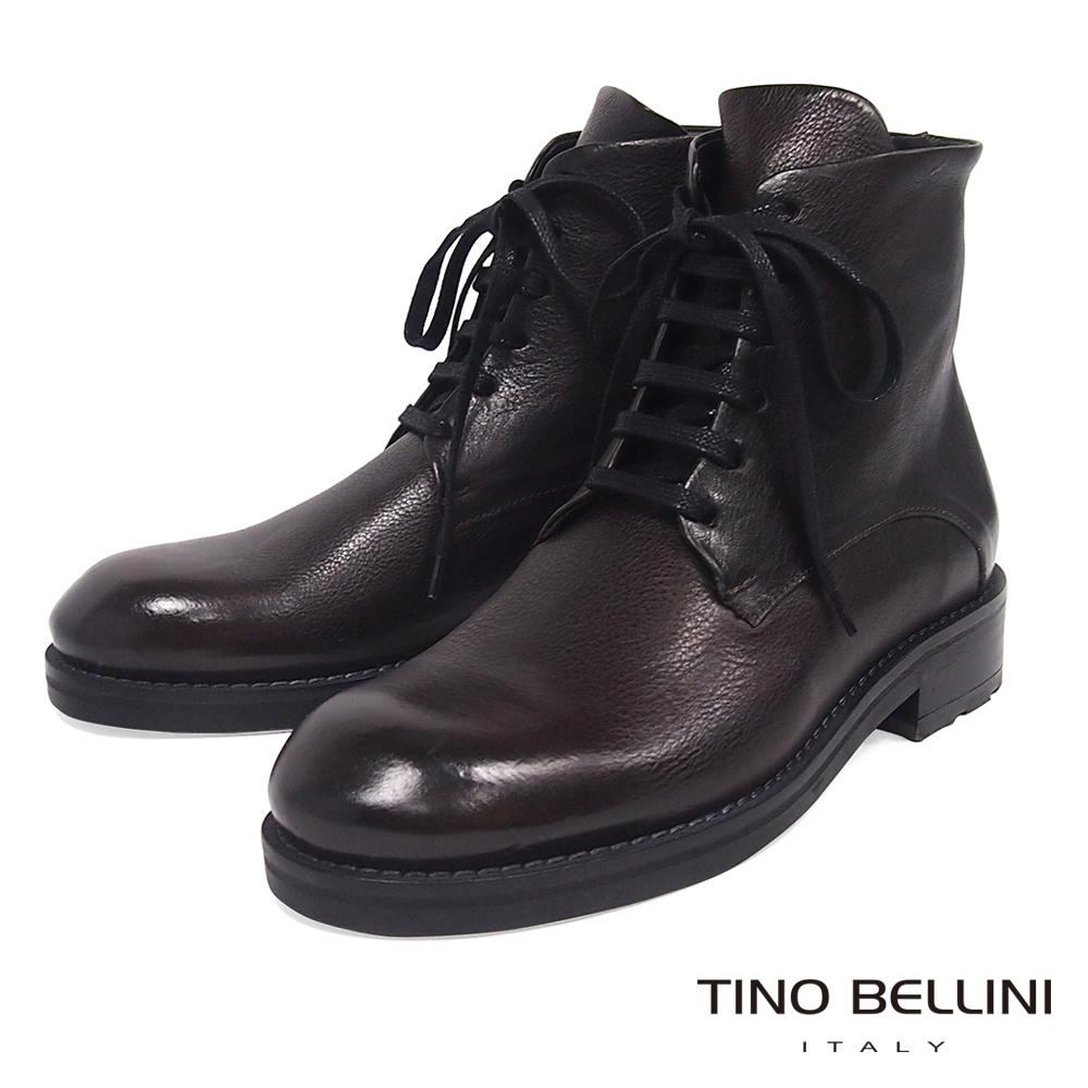 Tino Bellini義大利進口堅靭牛皮份量綁帶短靴_咖