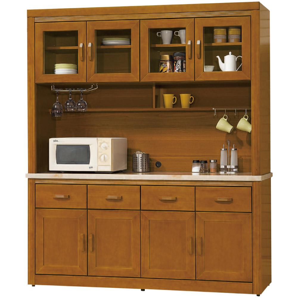 綠活居 卡利5.6尺石面實木餐櫃組合(上+下座)-166.7x43x196cm免組