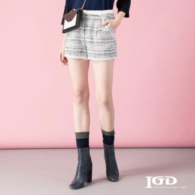 【IGD 英格麗】浪漫橫向織紋短褲-藍