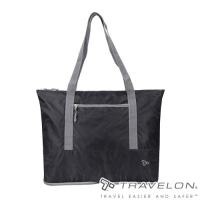 【Travelon】PACKING折疊收納肩背袋TL-43444黑/環保購物袋/休閒旅遊/旅行包/輕量防潑水