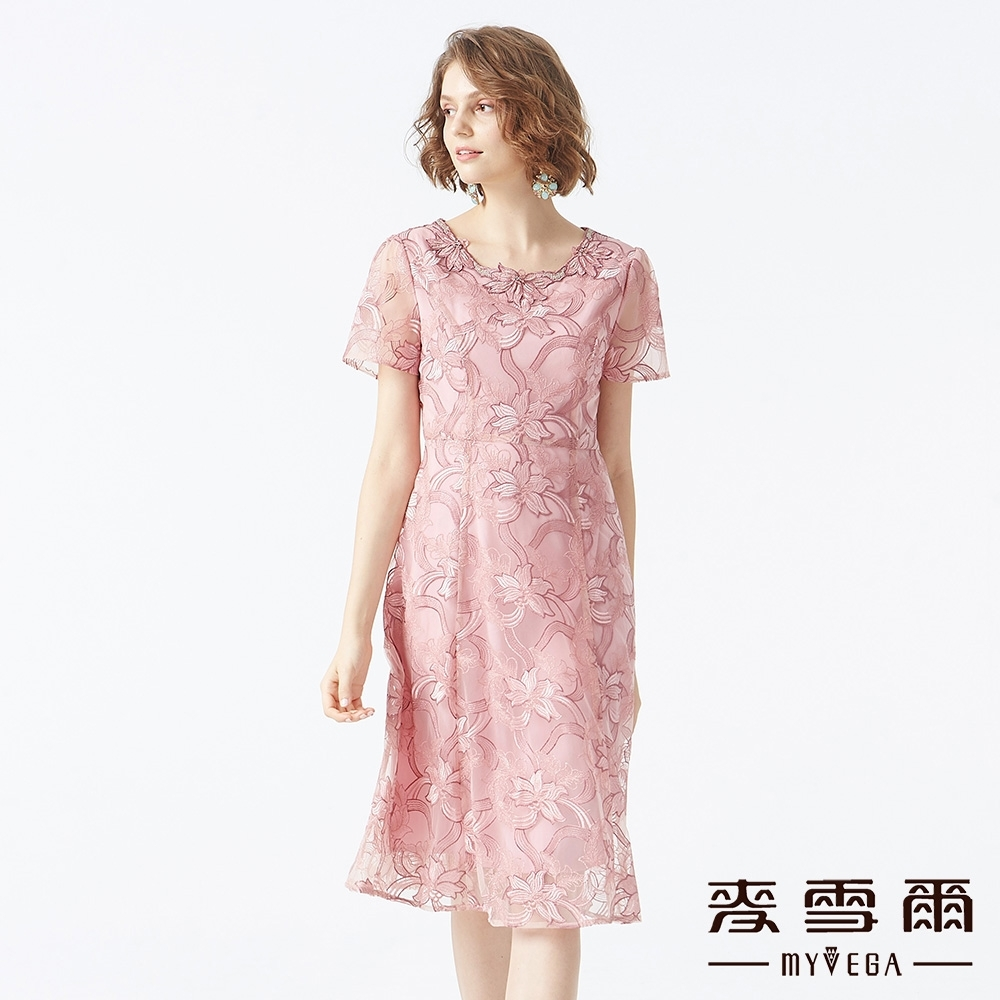 MYVEGA麥雪爾 花朵刺繡蕾絲長洋裝-粉