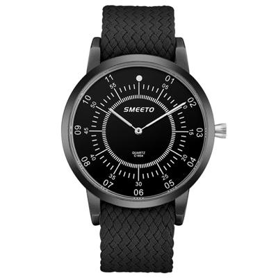 Watch-123 歐風大錶面雙刻度編織帶手錶