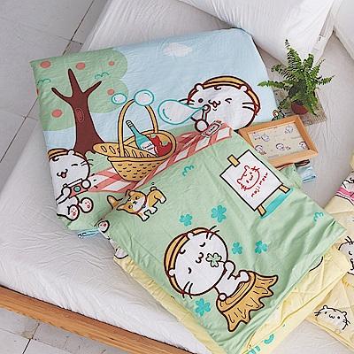 戀家小舖 / 雙人涼被  麻吉貓野餐派對涼被-兩色可選  100%精梳棉  台灣製
