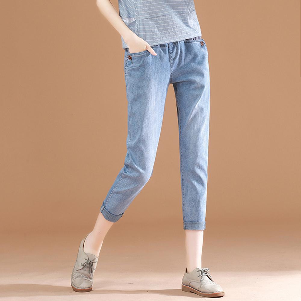 初色  九分休閒伸縮牛仔褲-淺藍-(M-XL可選)