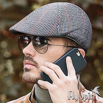 FLYSPIN 男款時尚英倫風格紋毛呢保暖紳士鴨舌扁冬帽