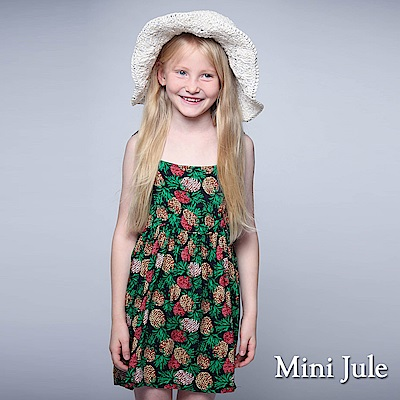 Mini Jule 童裝-洋裝 配色鳳梨綁帶細肩帶洋裝(深藍)