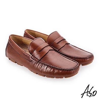 A.S.O 超能耐二代 經典臘感鞋面休閒鞋 咖啡