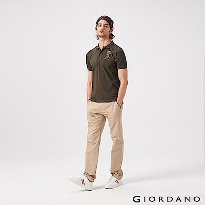 GIORDANO 男裝素色彈性修身長褲-14 陶器卡其