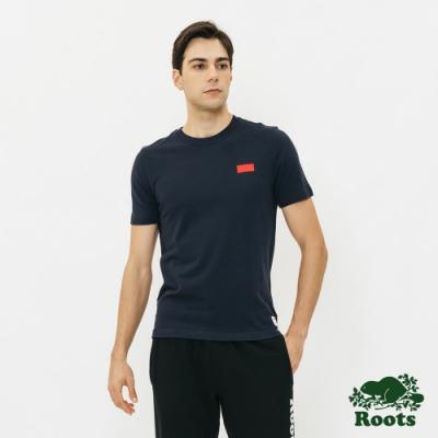 男裝Roots-網眼布短袖T恤-藍