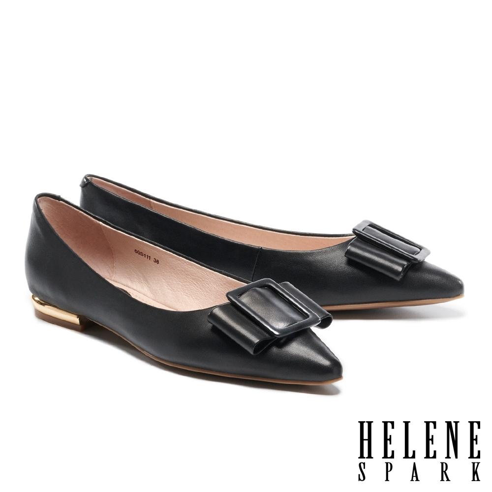 低跟鞋 HELENE SPARK 簡約素雅蝴蝶結全真皮尖頭低跟鞋-黑