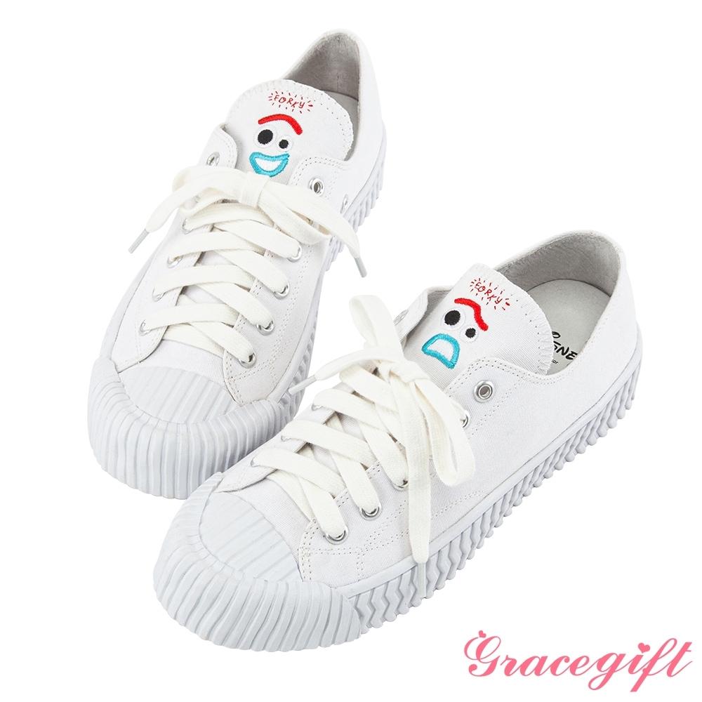 Disney collection by grace gift-玩總叉奇帆布餅乾鞋 白