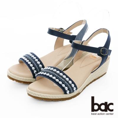 【bac】繽紛曼谷 - 波希米亞金屬珠飾一字帶楔型底台涼鞋-藍色