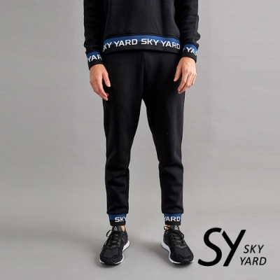 【SKY YARD 天空花園】棉質刷毛彈性束口長褲-黑色