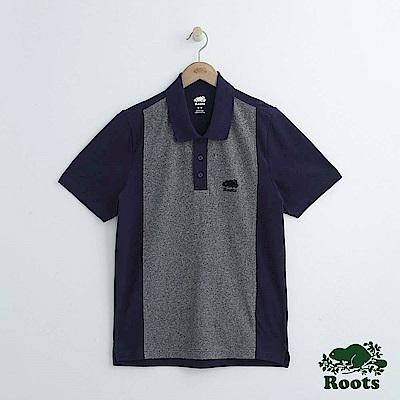 男裝Roots 撞色短袖POLO衫-藍