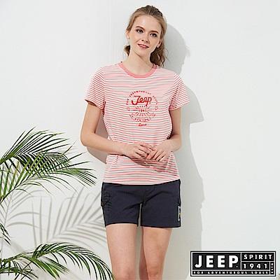 JEEP 女裝 經典條紋短袖TEE-珊瑚紅色
