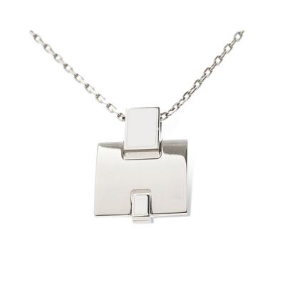 Hermes Eileen  H Logo造型項鍊(銀/白色)