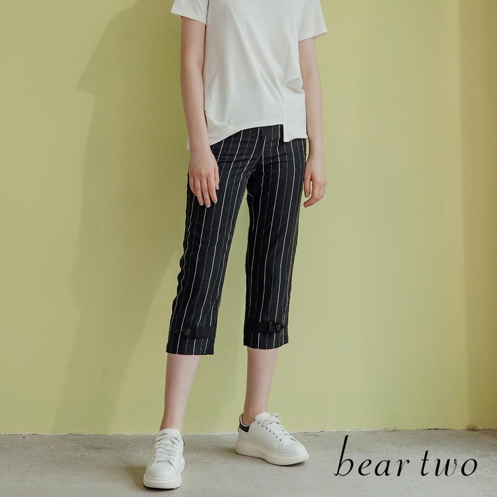 beartwo- 細直條紋鈕釦七分褲-黑