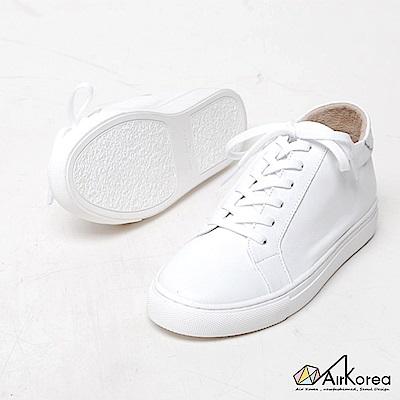 【AIRKOREA韓國空運】韓國熱賣真皮手作綁帶經典休閒鞋-增高6公分-白