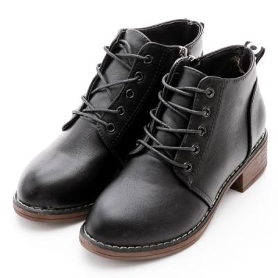 River&Moon復古學院風造型綁帶側拉鍊短靴-黑