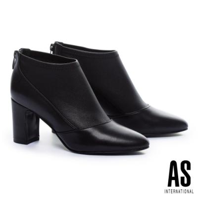 踝靴 AS 極簡時尚美學異材質拼接全真皮粗高跟踝靴-黑