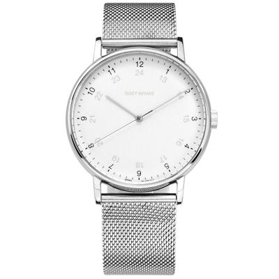 ISSEY MIYAKE 三宅一生 F系列日本製造米蘭編織不鏽鋼手錶-白色/39mm