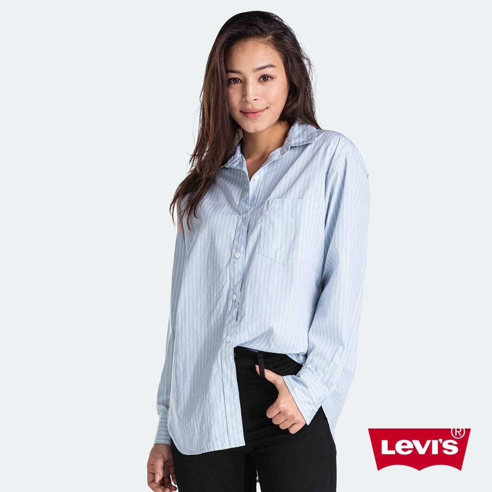 Levis 女款 細條紋長袖襯衫 Oversize寬鬆版型 迷你刺繡Logo 單口袋
