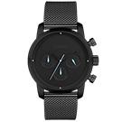 LOVME Stardust米蘭帶款時尚手錶-IP黑x藍/43mm