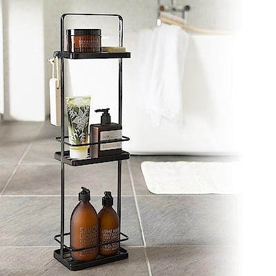 日本【YAMAZAKI】tower 手提式三層架-黑 ★置物架/收納架/衛浴用品