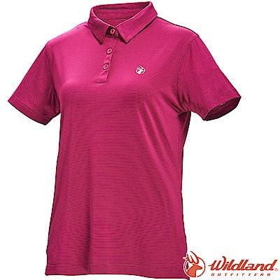 Wildland 荒野 0A71659-20玫瑰紅 女彈性POLO抗UV條紋衣