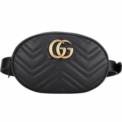 GUCCI GG Marmont 大款 山型絎縫皮革手拿/腰包(黑色)