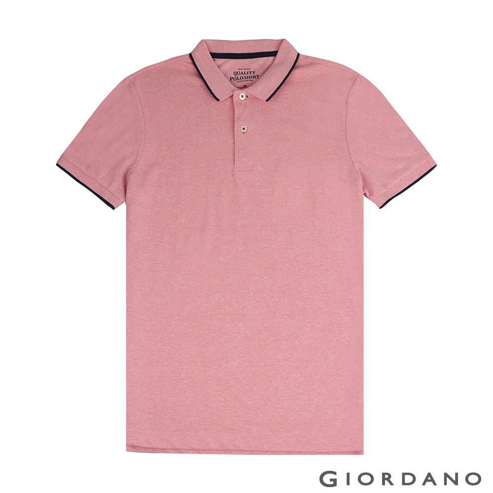 GIORDANO 男裝經典素色短袖POLO衫-47 雪花薔薇粉紅