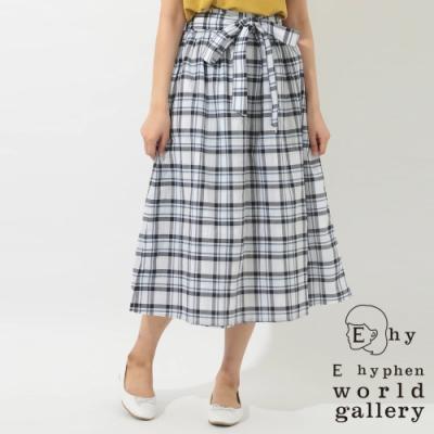 E hyphen 格紋設計綁帶長裙