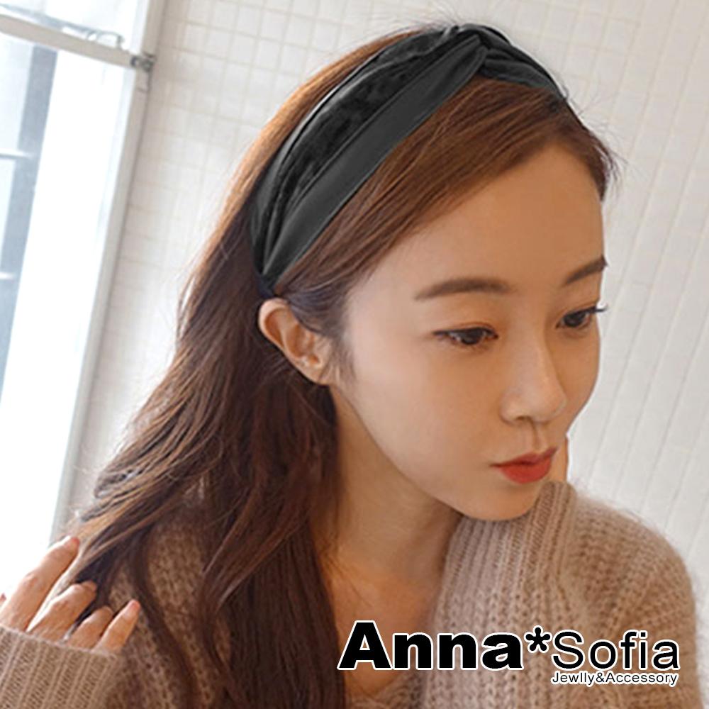AnnaSofia 雙拼絨布質皮革璇結 韓式寬髮箍(黑系)