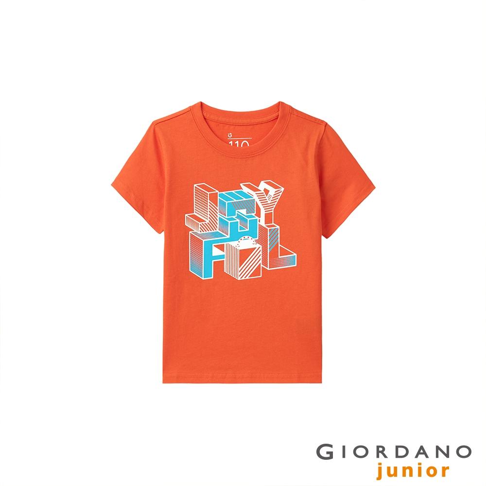 GIORDANO 童裝繽紛印花短袖T恤 - 32 錦鯉橙