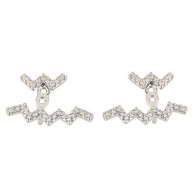 apm MONACO UP AND DOWN系列晶鑽鑲飾雙行Z字設計純銀可調節耳環(銀)