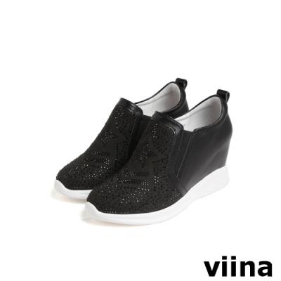 viina 鑲鑽星星閃耀內增高休閒鞋-黑