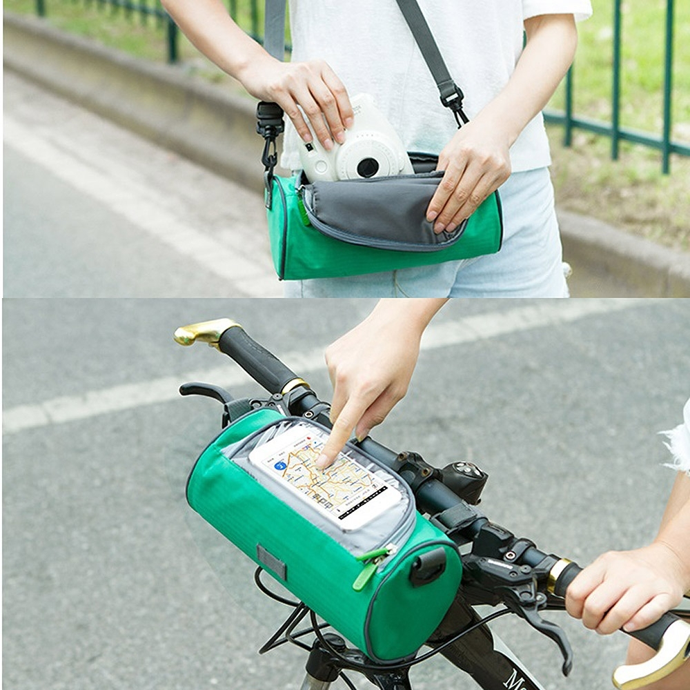 E.City_可斜揹多功能自行車手機觸控圓筒包