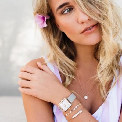 CLUSE La Tetragone 方框腕錶(玫瑰金框/白錶面/灰皮革錶帶)28.5mm