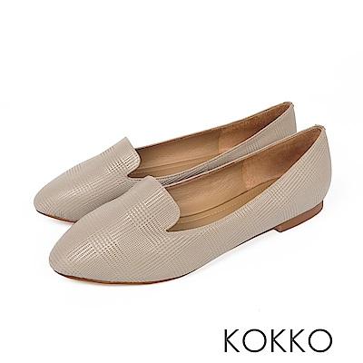 KOKKO - 極柔軟素面羊皮樂福平底鞋-中性灰