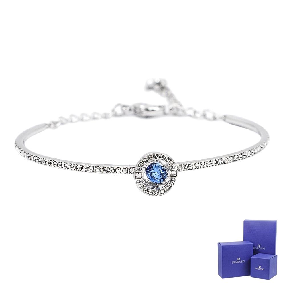 SWAROVSKI 施華洛世奇 SPARKLING璀璨浮動藍色圓形水晶銀色手環手鍊