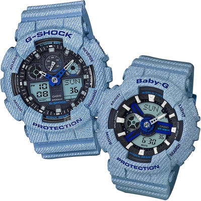 CASIO 熱銷款丹寧布料元素設計休閒錶(BA-110DE-2A2+GA-100DE-2)