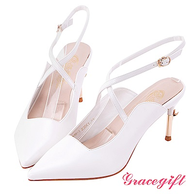 Grace gift-美少女戰士彎月神杖尖頭高跟鞋 白