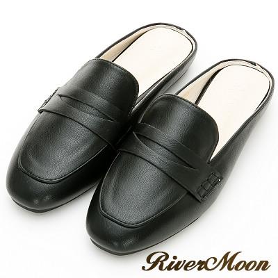 River&Moon大尺碼-歐美簡約方頭穆勒鞋-黑