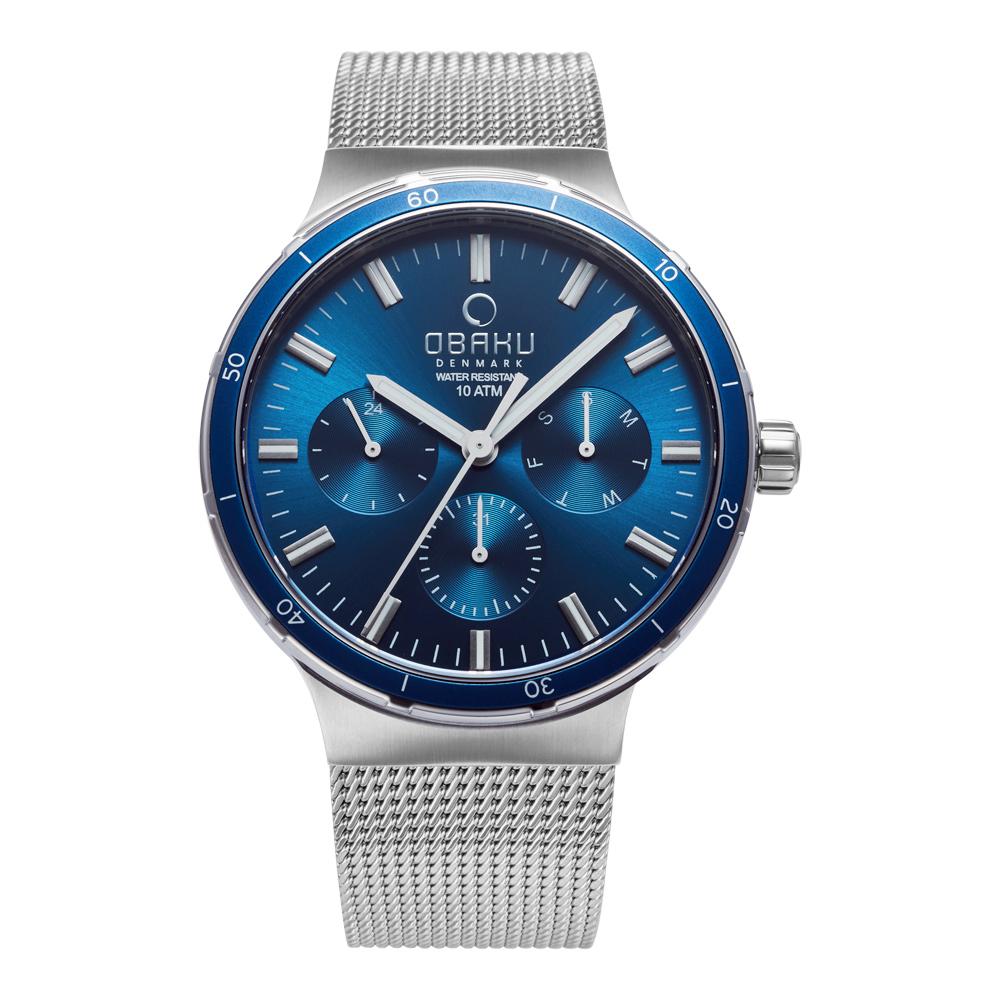OBAKU 多功能暢快游泳三眼腕錶-藍-V220GMCLMC-42mm
