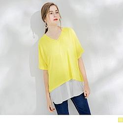 素色細針織拼雪紡下襬V領短袖長上衣-OB嚴選