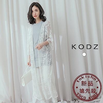 東京著衣-KODZ 唯美春天透肌網紗蕾絲罩衫外套