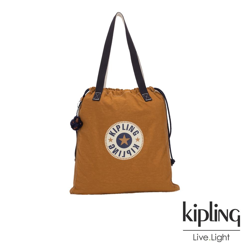 Kipling 致敬經典復古棕褐束口抽繩手提袋-NEW HIPHURRAY