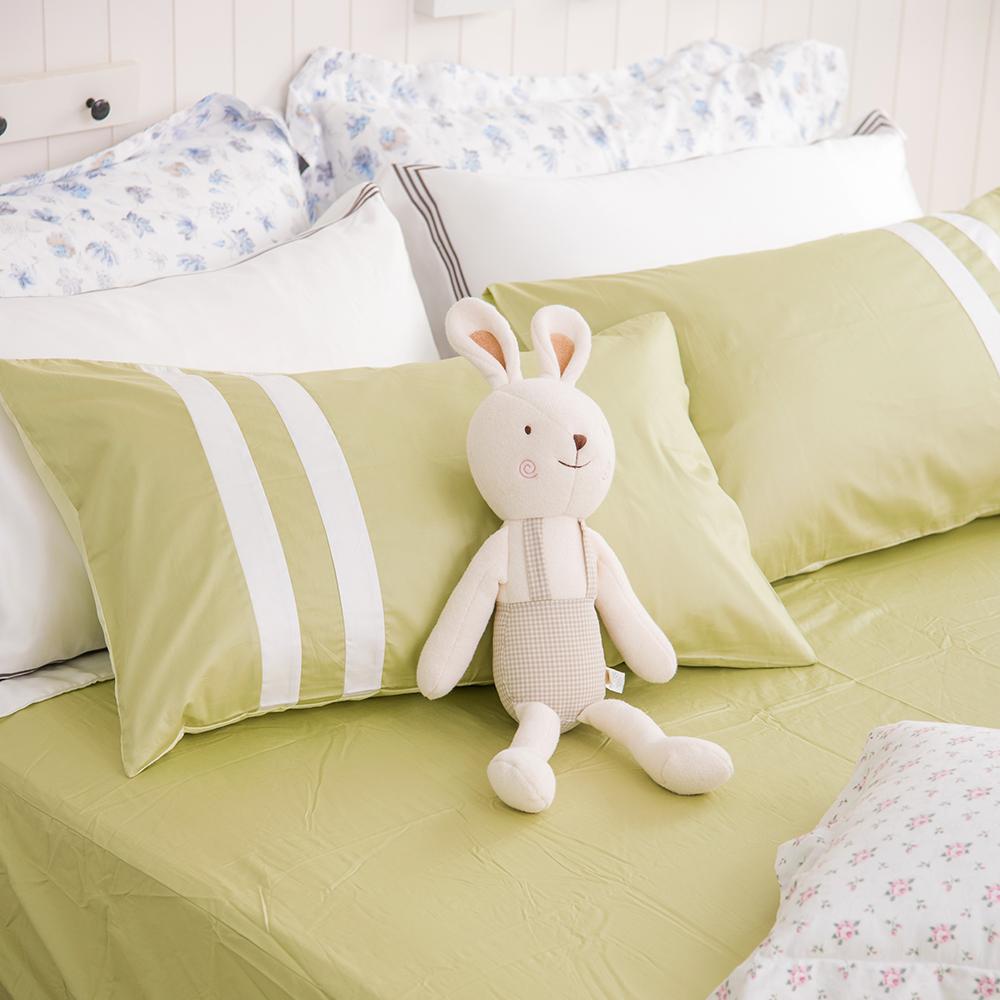 OLIVIA  青綠 白 草綠  雙人床包枕套三件組 素色無印